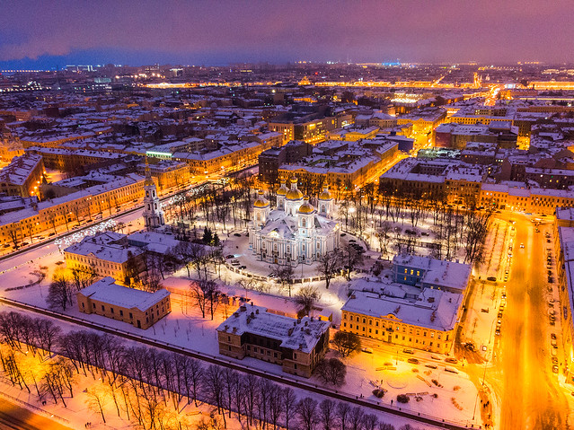 Evening St.Petersburg airview with St. Nicholas Naval Cathedral