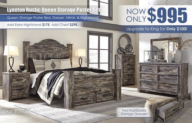 Lynnton Rustic Queen Storage Poster Bedroom Set_B297-31-36-46-67-61-64S-50-96-92