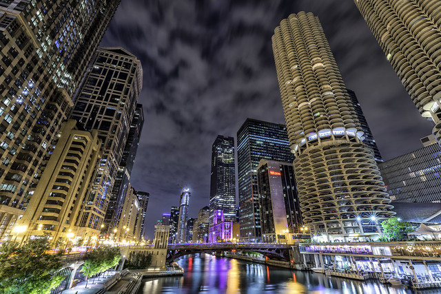 US...Chicago...cloudy night...