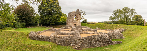 ludgershall castle ringwork panorama landscape building architecture tower ruins ancient medieval english heritage grass bank ditch stonework royal residence sky tree photomerge