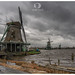 Zaandam, Noord Holland / The Netherlands - February 16, 2020: A storm (Dennis) brewing over the Zaanse Schans.