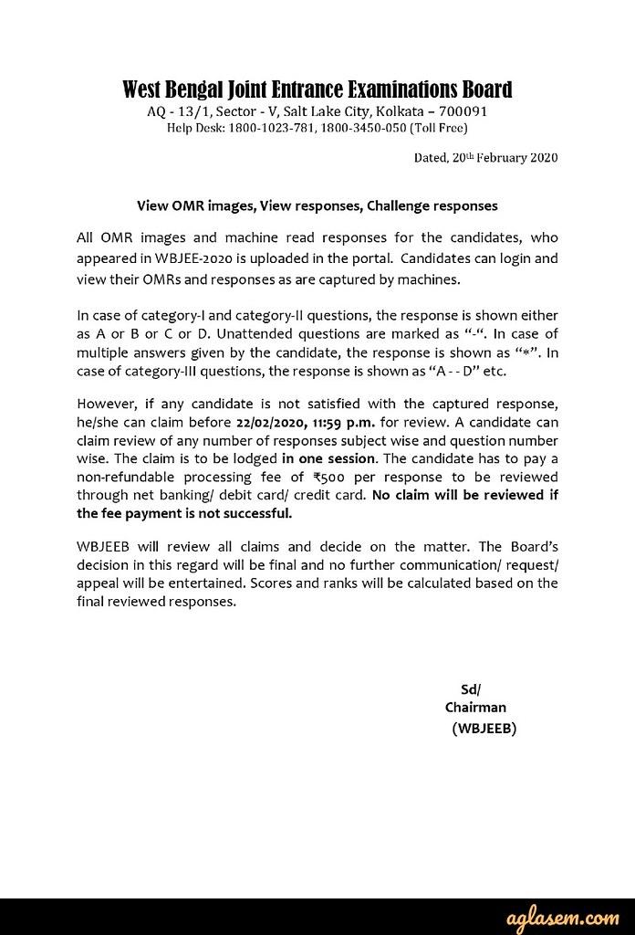 WBJEE 2020 OMR Sheet View / Challenge Notice