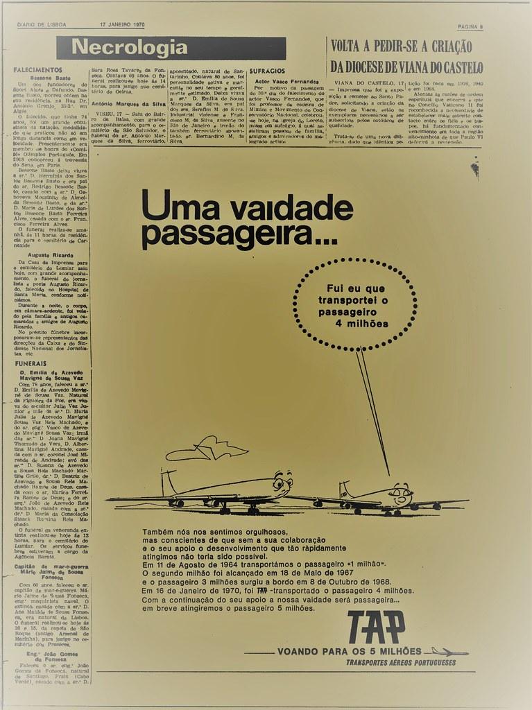 Uma vaidade passageira a TAP transporta o passageiro «4 milhões» (Diário de Lisboa, 17/I/1970)
