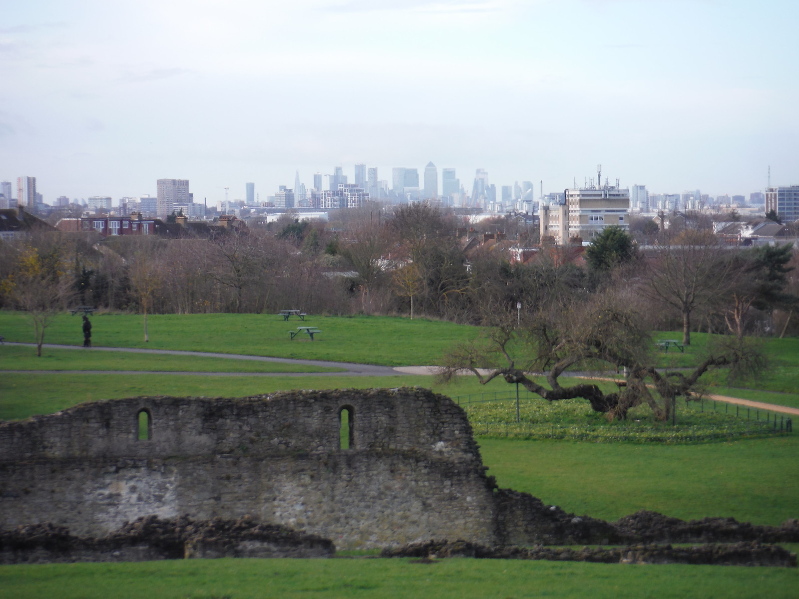Canary Wharf and City of London beyond Lesnes Abbey Ruins SWC Short Walk 43 - Lesnes Abbey Woods with Bostall Woods (Abbey Wood Circular)