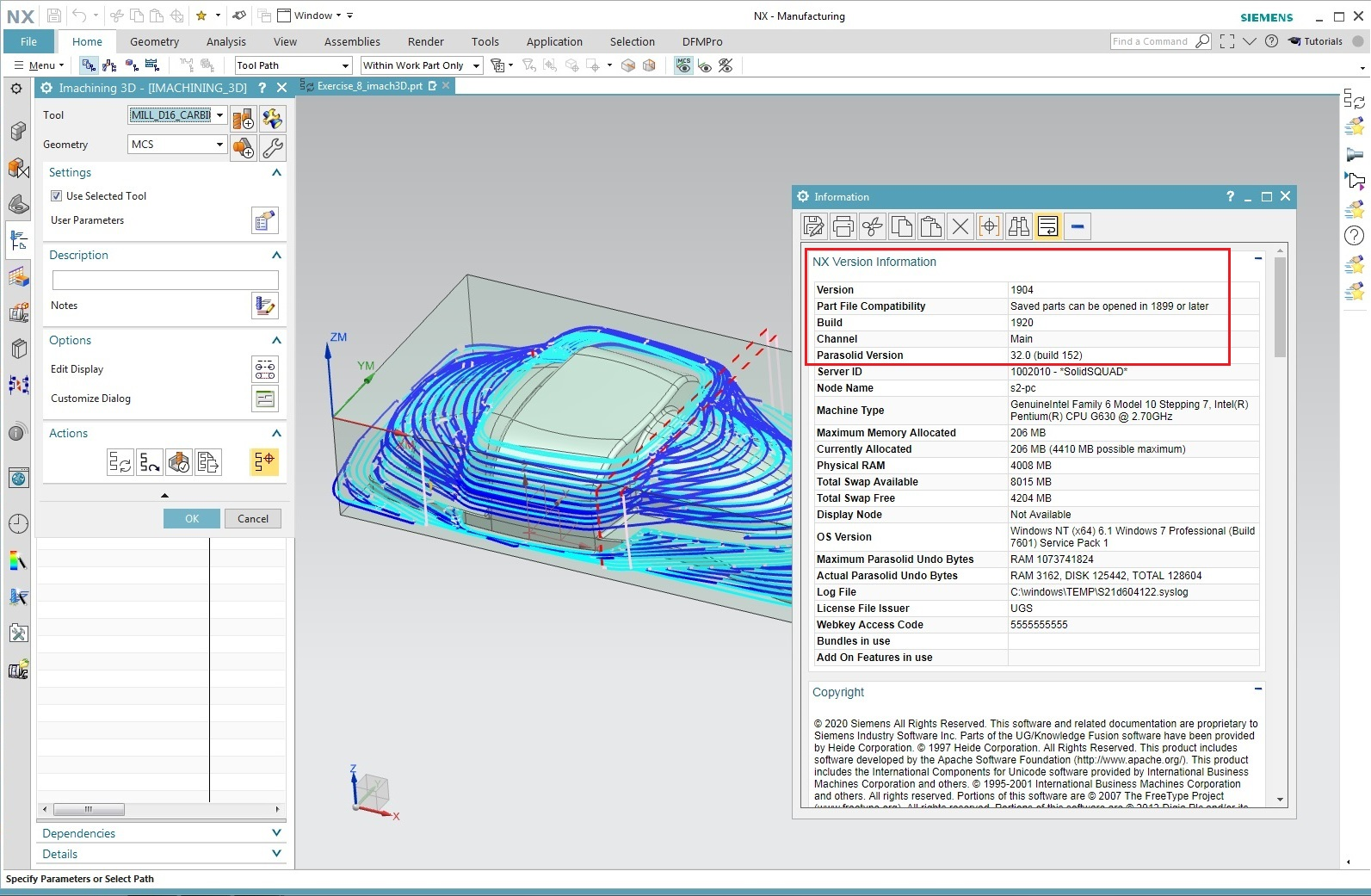 Working with iMachining 2.0.14 for NX 8.5-1899 Series full license