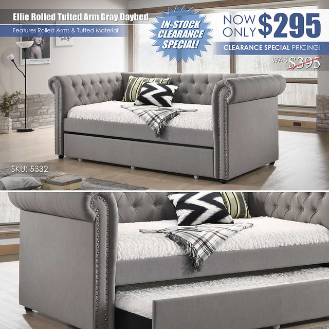 Ellie Rolled Tufted Arm Daybed_Gray_CLEARANCE_5332