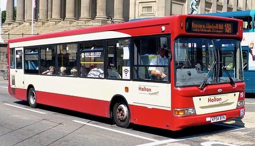 KP54 BYN 'Halton Transport' No. 19. Dennis Dart SLF / Plaxton Pointer on Dennis Basford's railsroadsrunways.blogspot.co.uk'