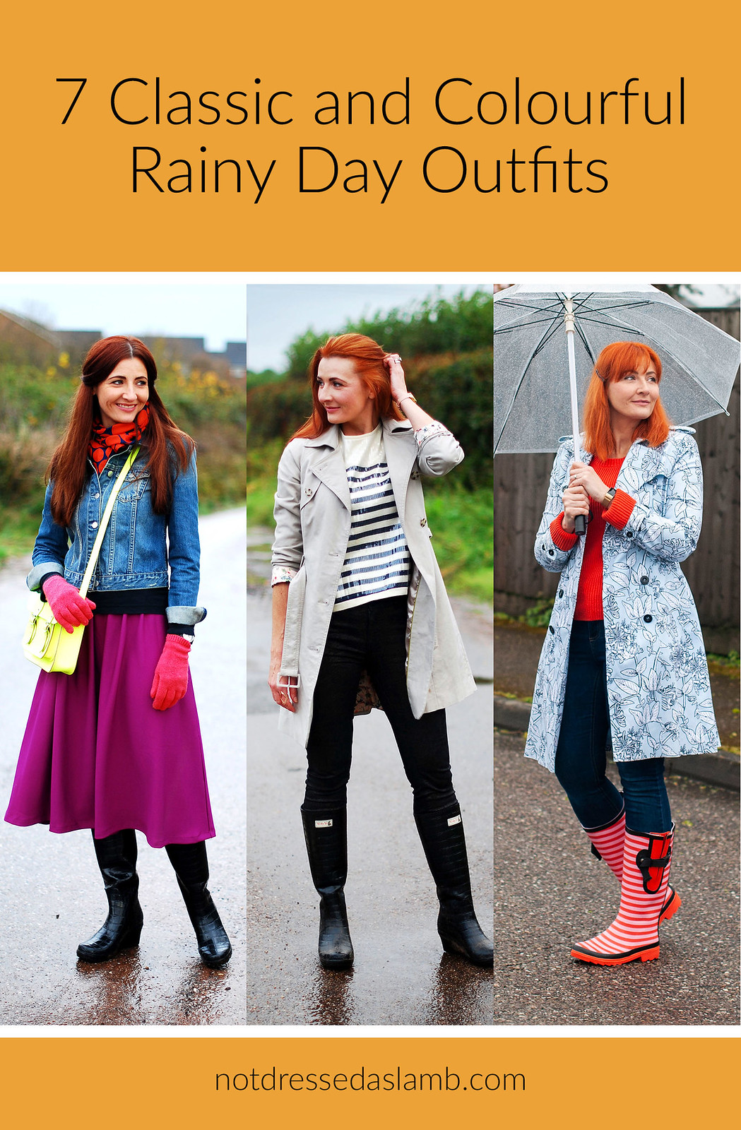 7 Colourful and Classic Rainy Day Outfits | Not Dressed As Lamb, Style Over 40