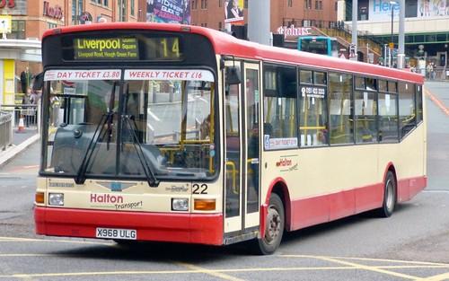 X968 ULG 'Halton Transport' No. 22. Dennis Dart / Marshall Capital on Dennis Basford's railsroadsrunways.blogspot.co.uk'
