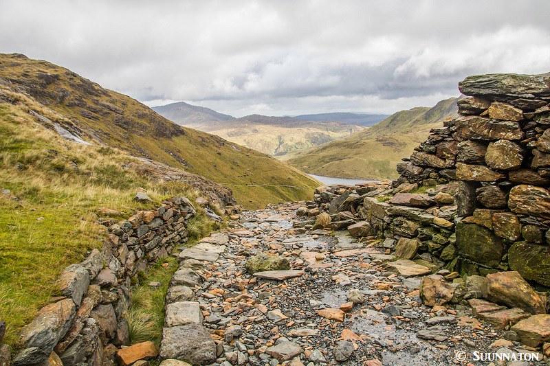 Snowdonian kansallispuisto, Snowdon, Miners Track, maisema