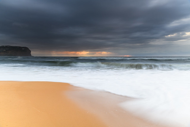 Sunrise Seascape and Rain Clouds