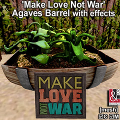 'Make Love Not War' Agaves Barrel with effects