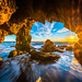Malibu El Matador State Beach Sea Cave Sunset Fuji GFX100 Red Orange Yellow Clouds California Fine Art Landscape Nature Photography! Dr. Elliot McGucken dx4/dt=ic Malibu! Fuji GFX 100 & Sharp Venus Optics Laowa 17mm f/4 GFX Zero-D Lens for FUJIFILM GF MF