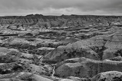 Badlands and Formations from the Big Foot Pass Overlook (Black & White, Badlands National Park)