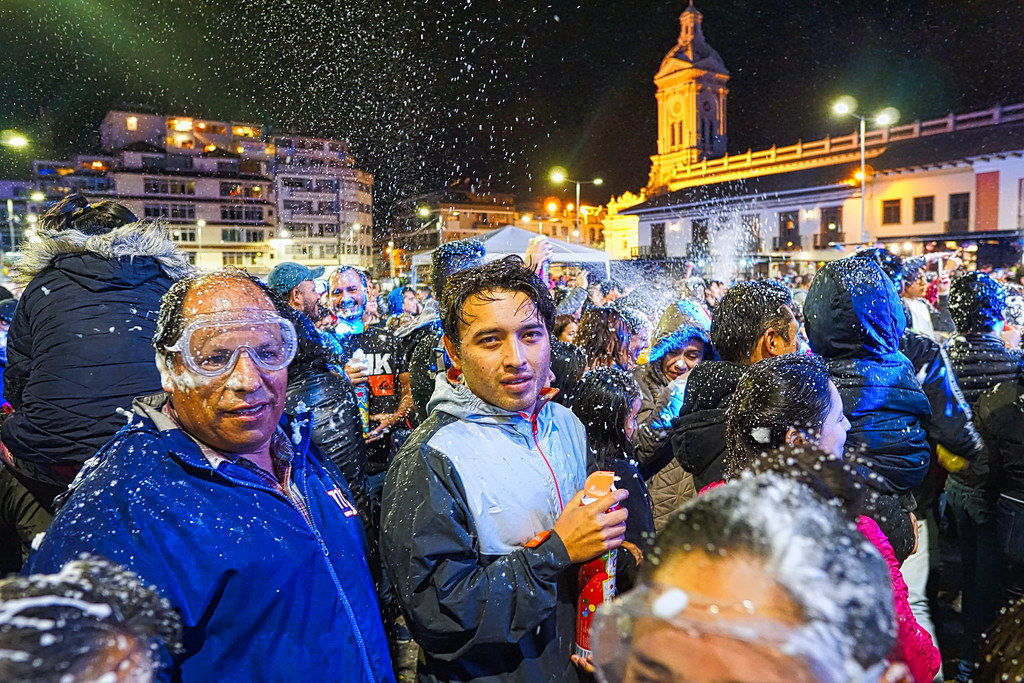 Compadres and Comadres celebration in San Francisco Plaza, Cuenca, Ecuador