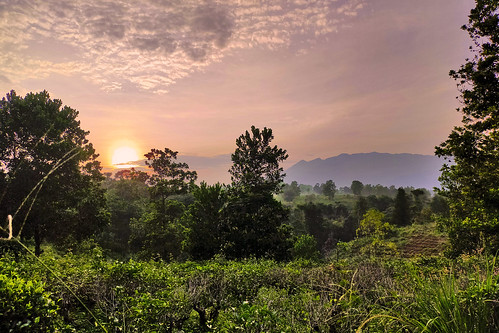 sunrise landscape panorama scenery