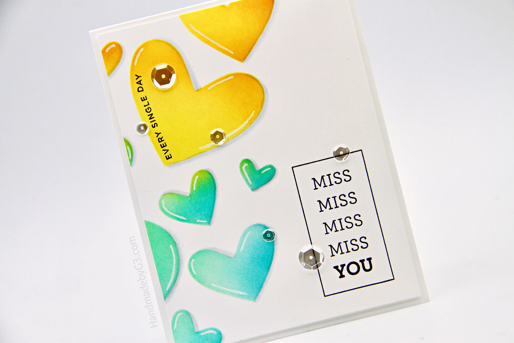 Miss you card closeup