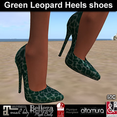 Green Leopard Stiletto Shoes