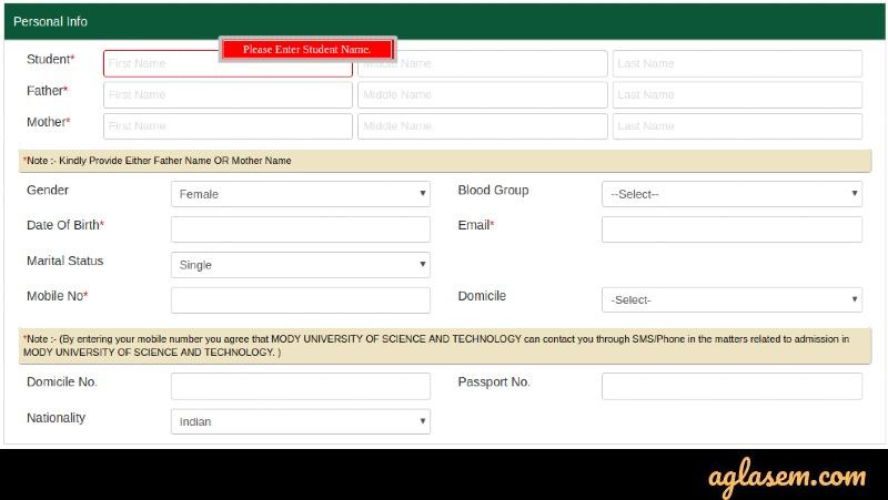 Modi University 2020 application form