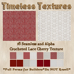 TT 16 Seamless &  Alpha Crocheted Lace Cherry Timeless Texture
