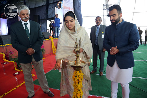 Her Holiness lighting the Lamp