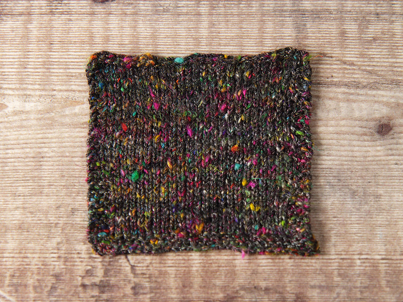 Karma Blend handspun yarn swatch knitted at tight gauge