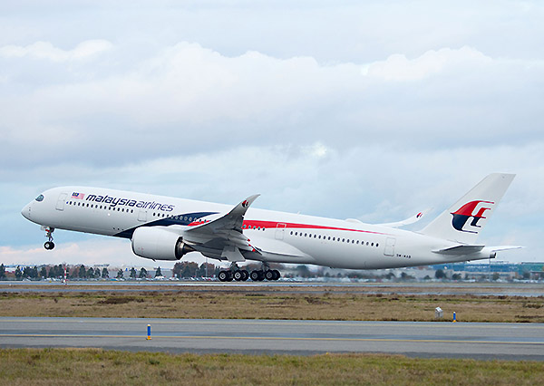 Malaysia Airlines A350-900 take off (Airbus)