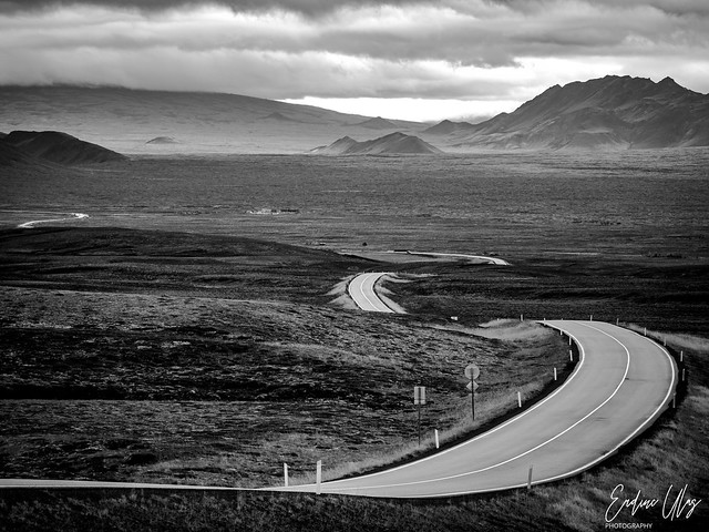 On a long and thin road in Iceland
