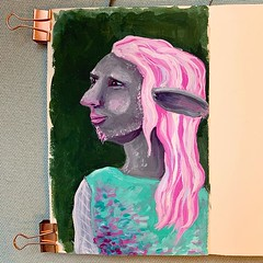 I got myself the Himi jelly cups gouache that is all the rage among youtube-artists, and to test them out I tried my hand at @executivegoth's @critical_role character Caduceus Clay! A pretty okay outing for my first painting of a firbolg. And so far I lik