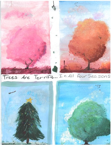 Drawing of trees in all four seasons