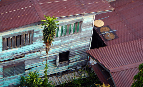 Corrugated tin roofs in Bangkok, Thailand