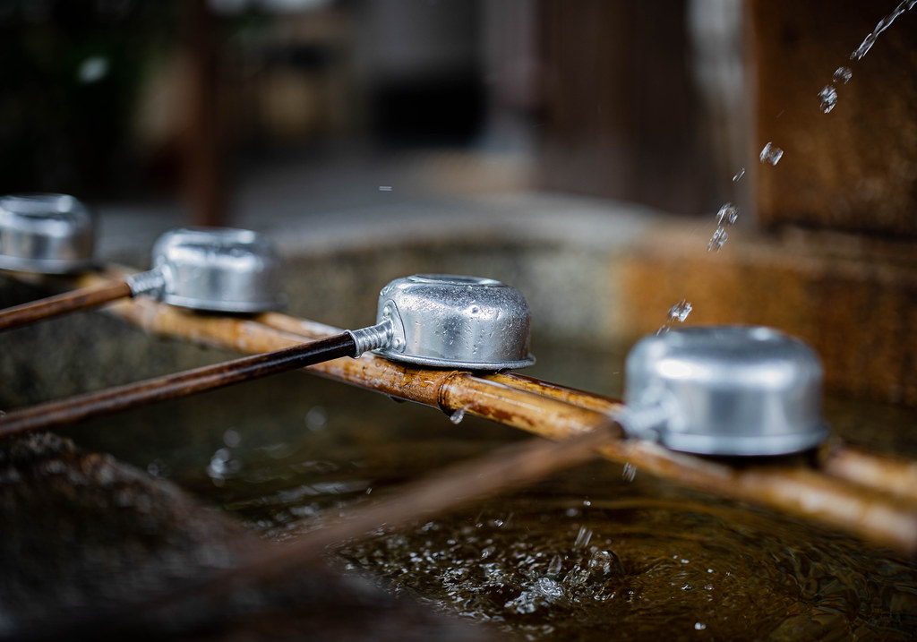 A water filled-basin in a shrine in Kyoto