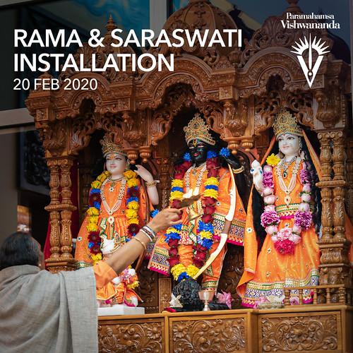 Sita Rama & Saraswati Deity Installation