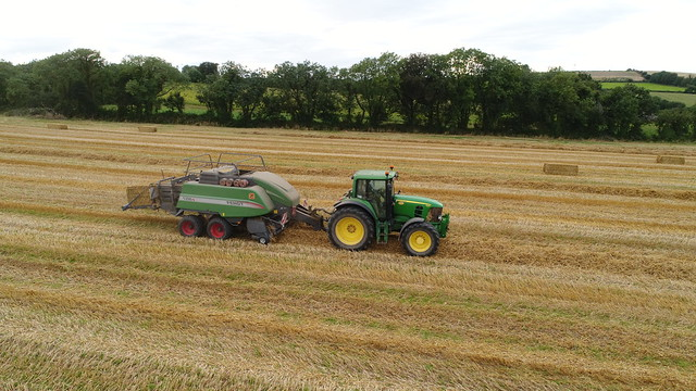 John Deere 7530 Tractor with a Fendt 1290S Square Baler