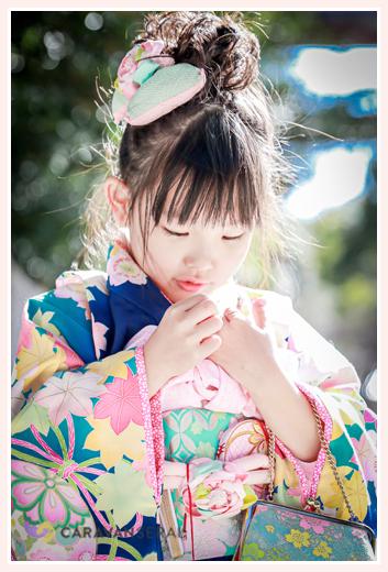 七五三 7歳の女の子の七五三 ブルーの着物