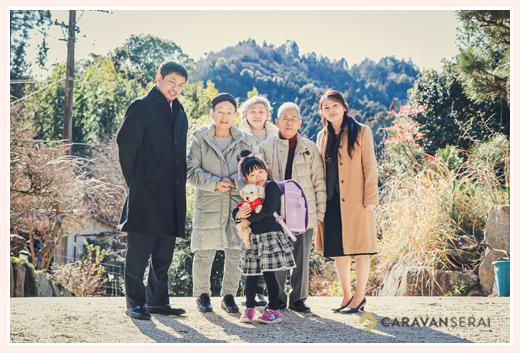 小学校入学記念の家族写真 おじいちゃま、おばあちゃまも一緒に 愛知県豊田市でロケーション撮影