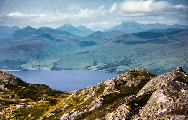 Mighty Ben More, above Crianlarich, head in the clouds, from Ben Venue, above Loch Katrine, Stirlingshire.