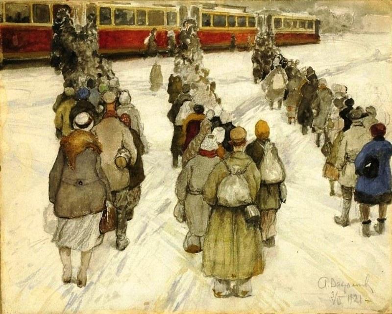 "Художник А.Вахрамеев. ""Очередь на трамвай"", 1921 г."