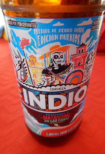 A bottle of Indio beer in Zihuatanejo, Mexico