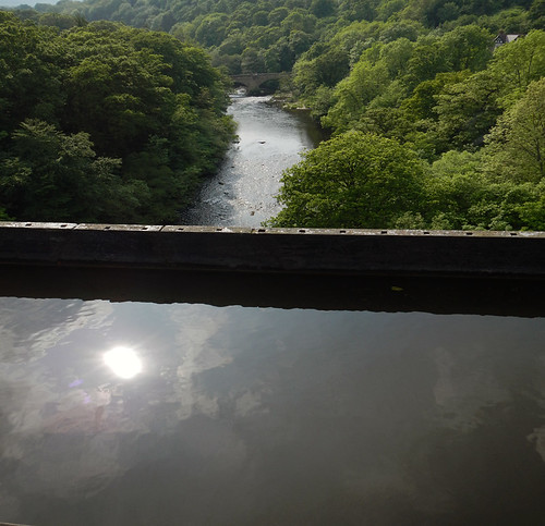 Looking down from the canal in the Pontcysylite Aqueduct in Wales