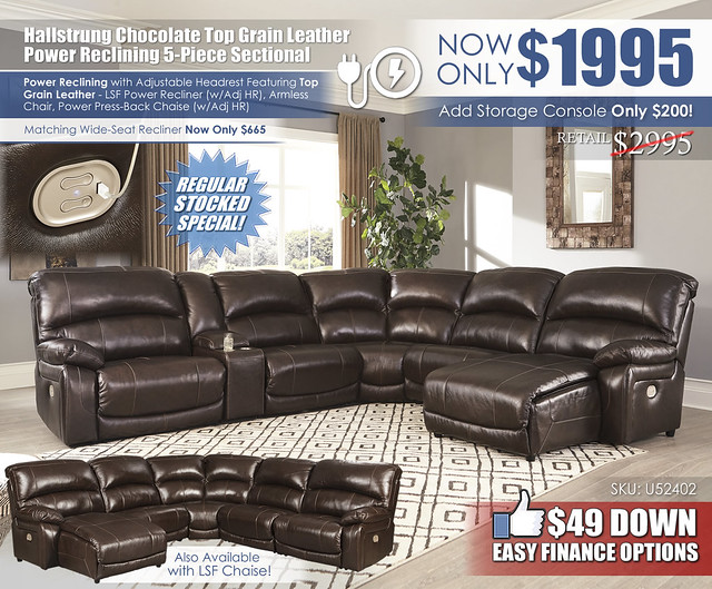 Hallstrung Chocolate 5 Piece Reclining Leather Sectional_Update_U52402-58-57-19-77-46-97