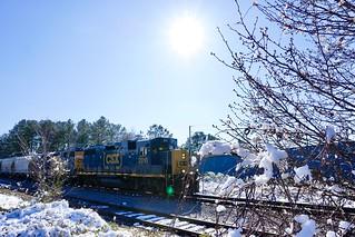 CSX by Henderson, NC in a rare snow scene