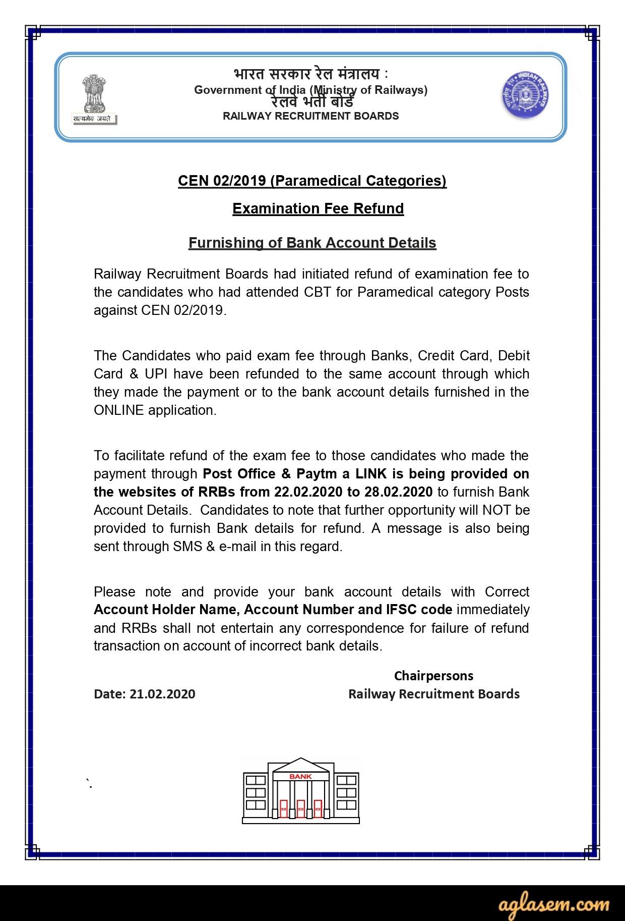 RRB Paramedical Fee Refund Notice