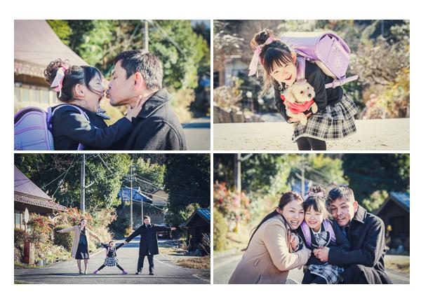 豊田市山間部へ出張撮影(旧小原村) 小学校入学記念の家族写真 ライトパープルのランドセルを背負って