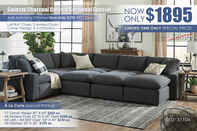 Savesto Charcoal Custom Sectional As Shown_31104-64-46-77-46(2)-65-08(3)-PILLOW