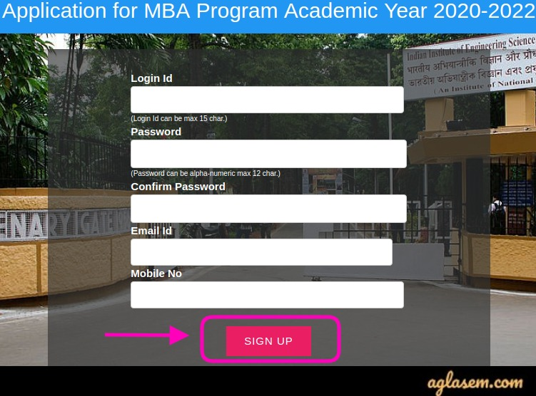 IIEST Shibpur MBA Admission 2020 Application Form
