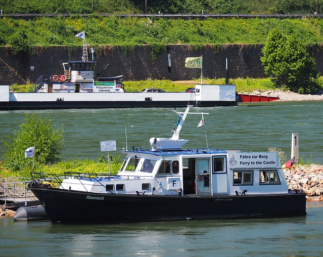 Ferry Boat and Ship on the River Rhine, Germany