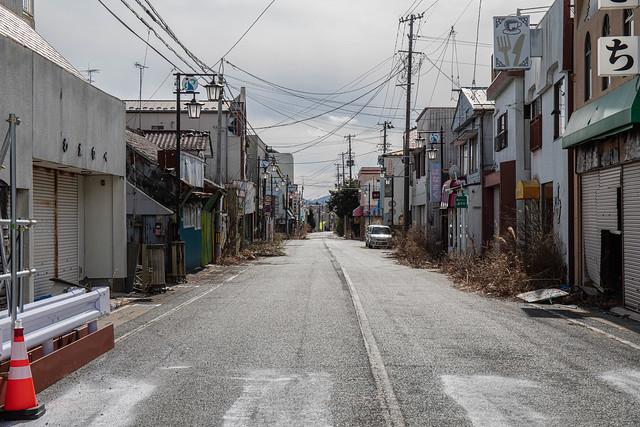 Abandoned street seen at Fukushima exclusion zone