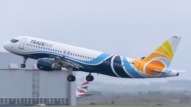 9A-BTG - Trade Air a320 @ Cardiff Airport 21/02/20
