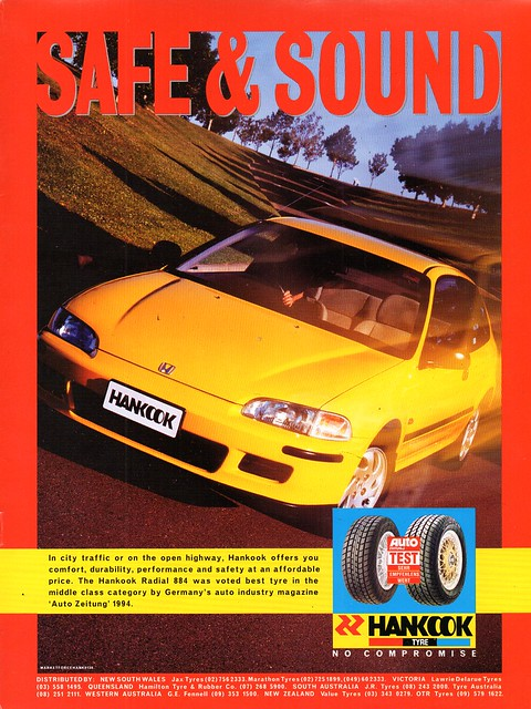 1994 Hankook Tyres Honda Civic Aussie Original Magazine Advertisement